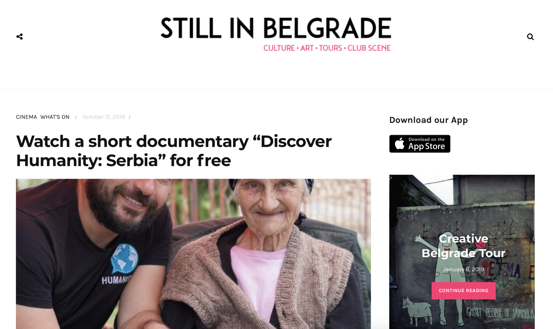 Still in Belgrade article